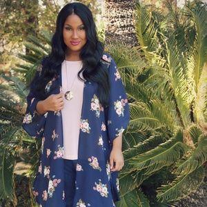 New Plus Size Blue Floral Kimono